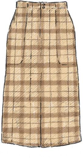 ブレイドウールダブルクロスペンシルスカート