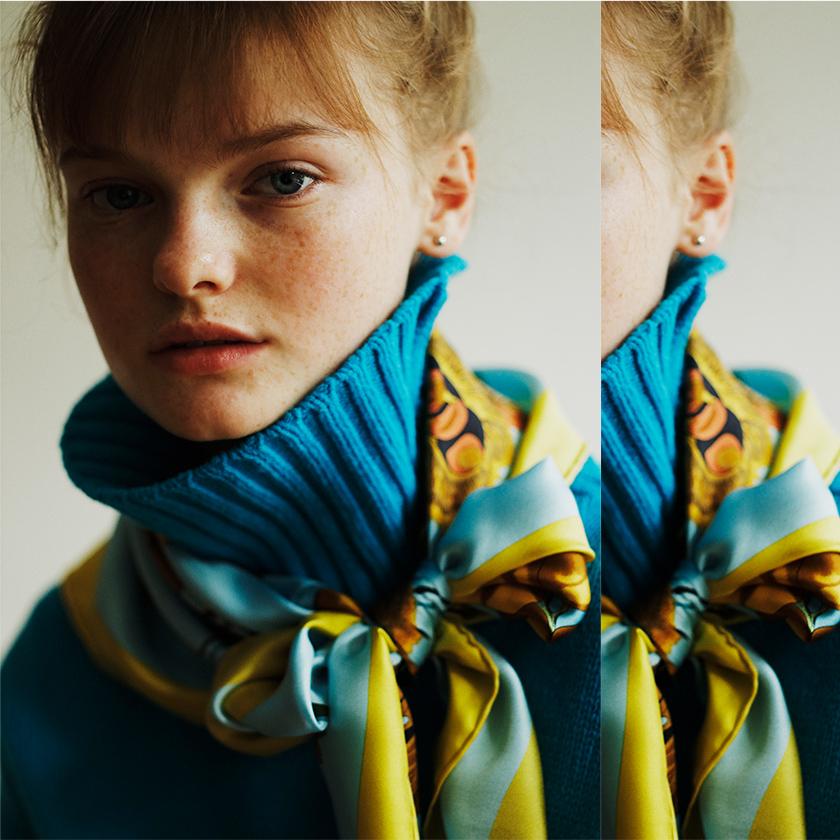 #2 Turtleneck Knit × Silk Scarf photo