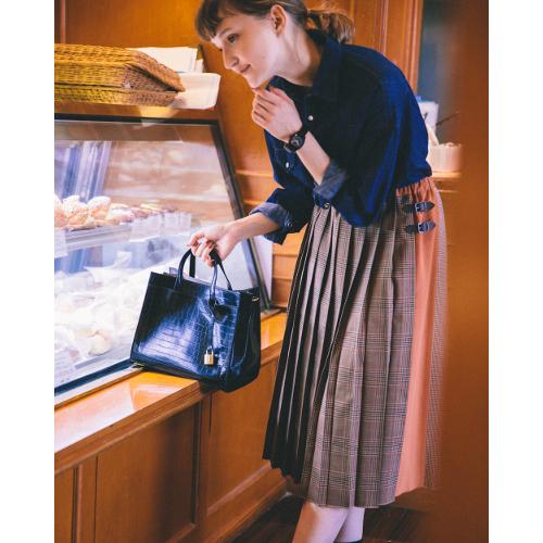 FUDGE×POU DOU DOU【コラボ】キルト風プリーツスカートのモデルカット