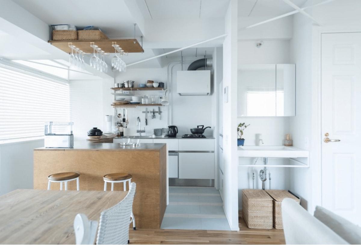 ゼロリノベ リノベーション事例 キッチン 独立洗面台